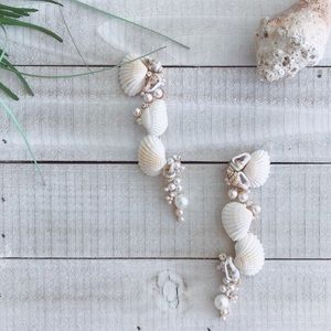 Intricate Seashell Pearl Earrings